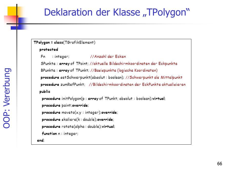 OOP: Vererbung 66 Deklaration der Klasse TPolygon TPolygon = class(TGrafikElement) protected Fn : integer; //Anzahl der Ecken SPunkte : array of TPoin