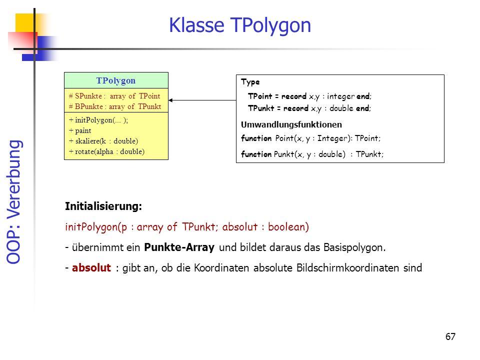 OOP: Vererbung 67 Klasse TPolygon TPolygon + initPolygon(... ); + paint + skaliere(k : double) + rotate(alpha : double) # SPunkte : array of TPoint #