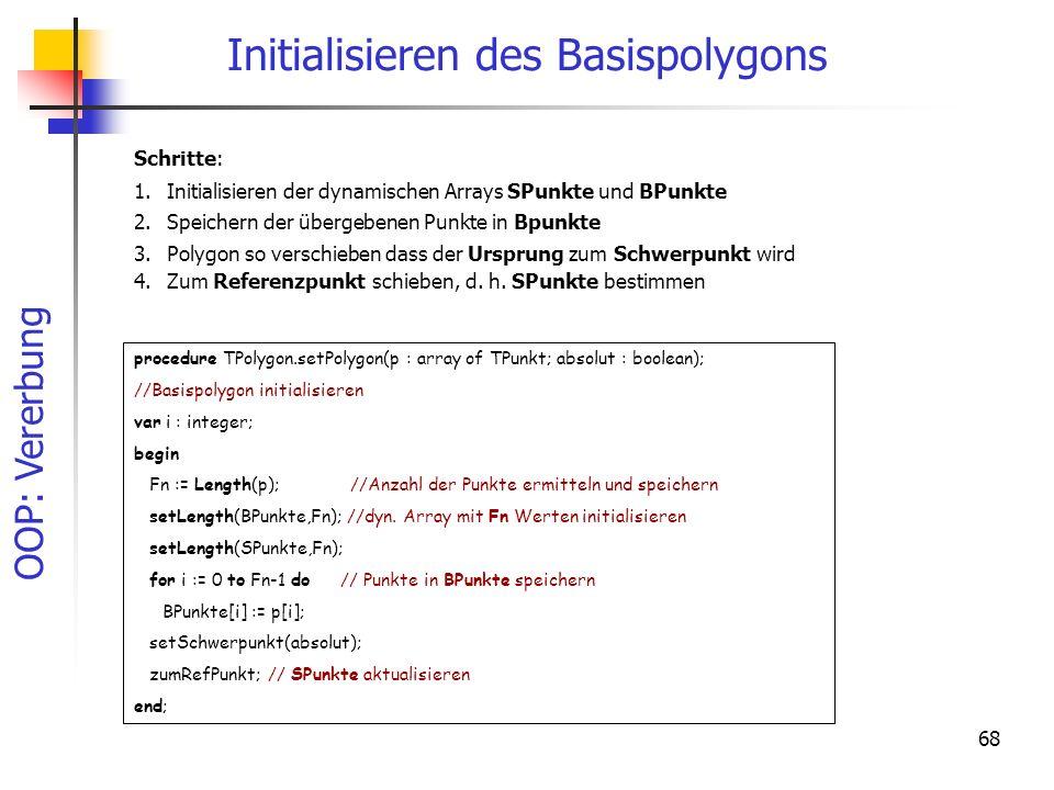OOP: Vererbung 68 Initialisieren des Basispolygons Schritte: 1.Initialisieren der dynamischen Arrays SPunkte und BPunkte 2.Speichern der übergebenen P