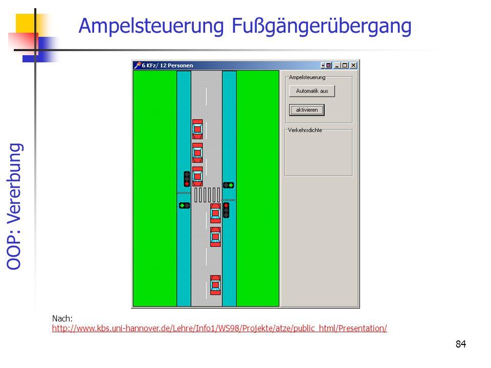 OOP: Vererbung 84 Ampelsteuerung Fußgängerübergang Nach: http://www.kbs.uni-hannover.de/Lehre/Info1/WS98/Projekte/atze/public_html/Presentation/