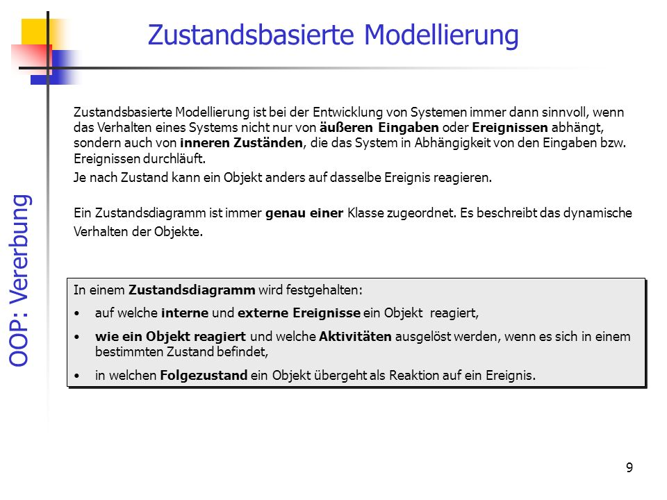 OOP: Vererbung 9 Zustandsbasierte Modellierung Ein Zustandsdiagramm ist immer genau einer Klasse zugeordnet. Es beschreibt das dynamische Verhalten de