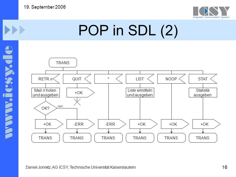 16 19. September 2006 Daniel Jonietz, AG ICSY, Technische Universität Kaiserslautern POP in SDL (2) +OK Mail n holen und ausgeben TRANS QUITRETR n OK?