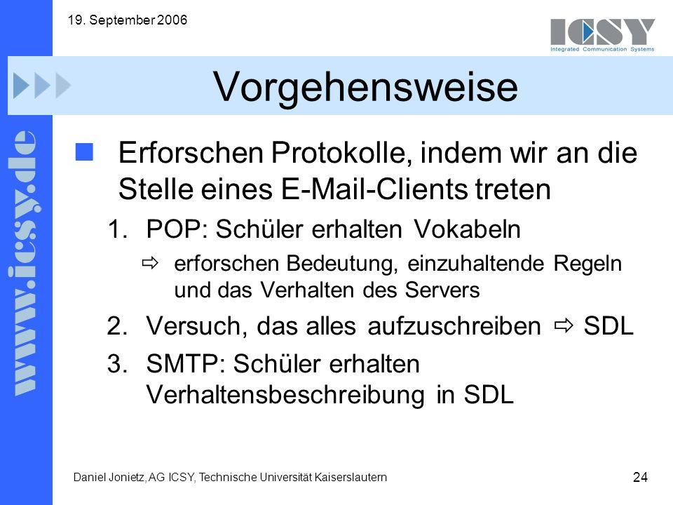 24 19. September 2006 Daniel Jonietz, AG ICSY, Technische Universität Kaiserslautern Vorgehensweise Erforschen Protokolle, indem wir an die Stelle ein