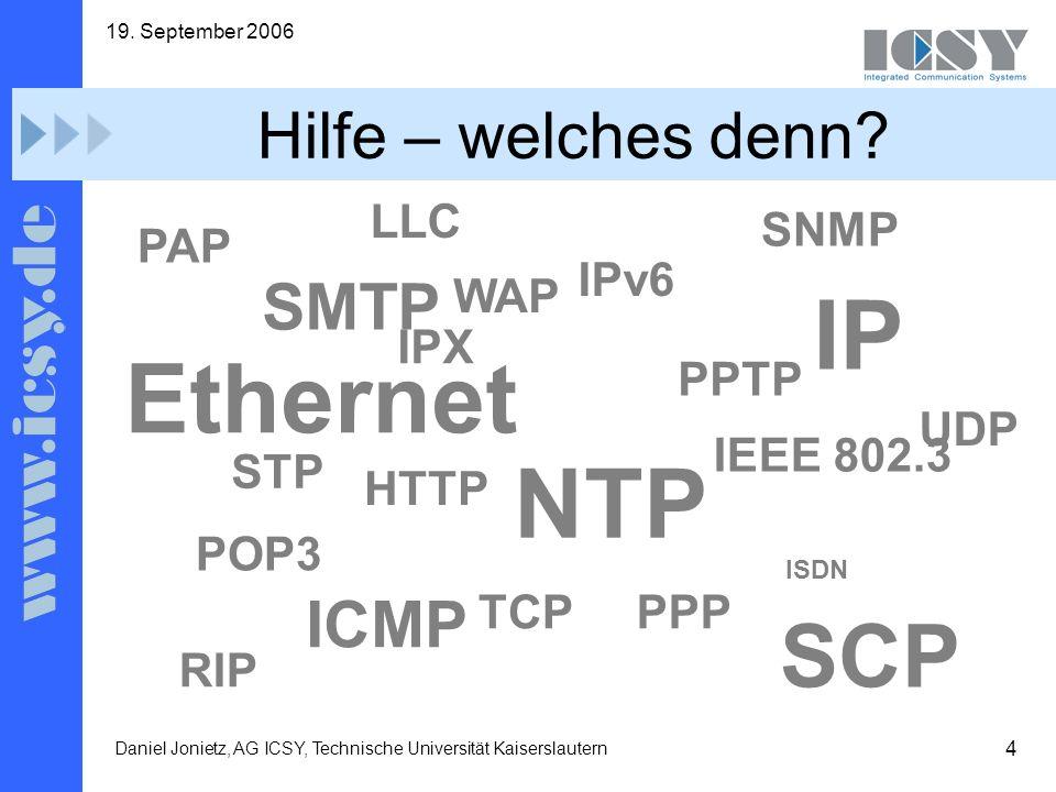 4 19. September 2006 Daniel Jonietz, AG ICSY, Technische Universität Kaiserslautern Hilfe – welches denn? POP3 SMTP HTTP PPP IPv6 Ethernet IEEE 802.3