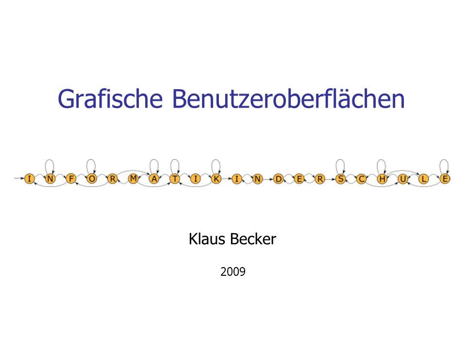 22 Erzeugung eines Fensters # -*- coding: iso-8859-1 -*- from Tkinter import * # Erzeugung des Fensters tkFenster = Tk() tkFenster.title( chuck a luck ) tkFenster.geometry( 350x145 ) # Aktivierung des Fensters tkFenster.mainloop() Tk-Objekt