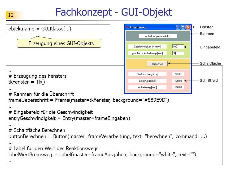12 Fachkonzept - GUI-Objekt... # Erzeugung des Fensters tkFenster = Tk()... # Rahmen für die Überschrift frameUeberschrift = Frame(master=tkFenster, b