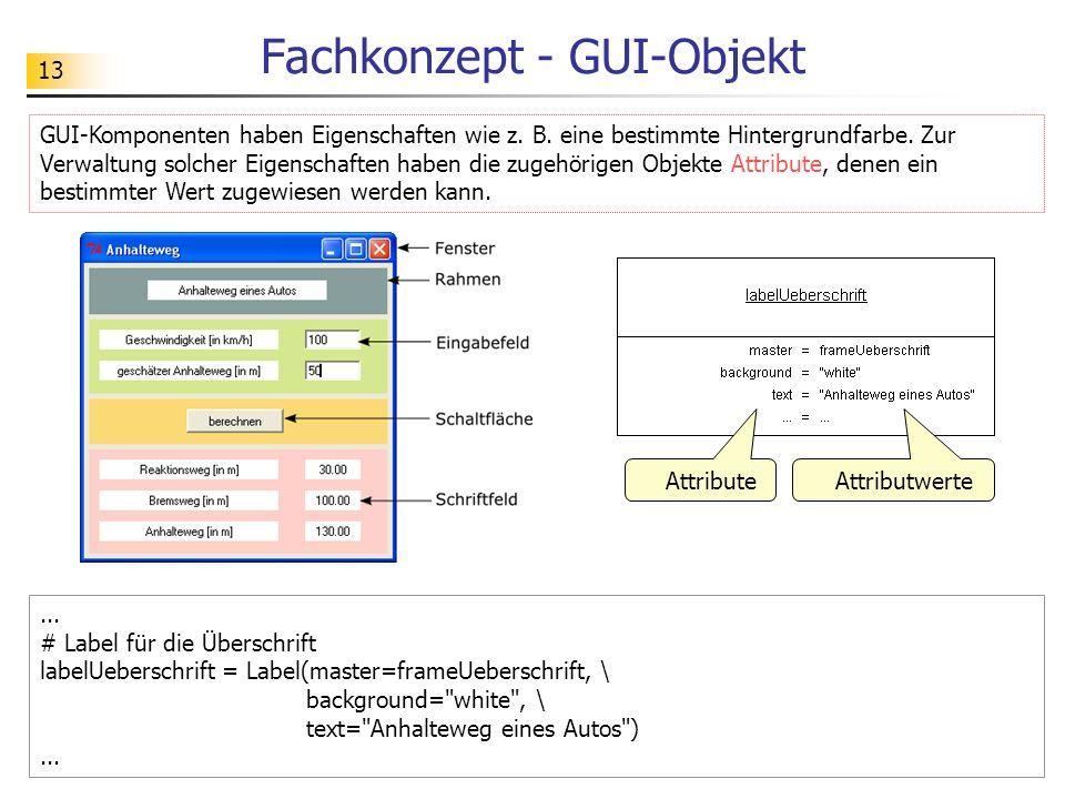 13 Fachkonzept - GUI-Objekt... # Label für die Überschrift labelUeberschrift = Label(master=frameUeberschrift, \ background=