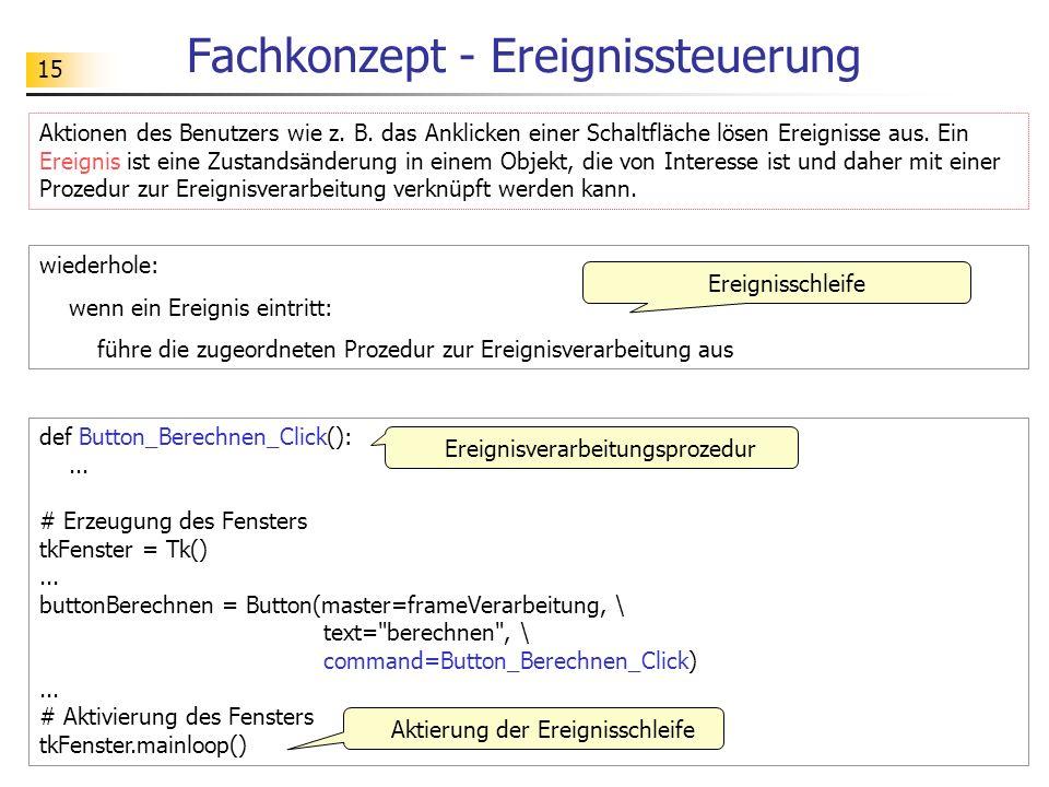 15 Fachkonzept - Ereignissteuerung def Button_Berechnen_Click():... # Erzeugung des Fensters tkFenster = Tk()... buttonBerechnen = Button(master=frame