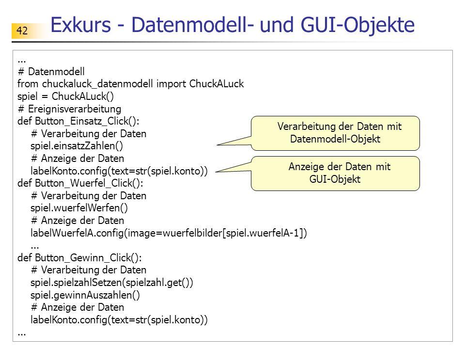 42 Exkurs - Datenmodell- und GUI-Objekte... # Datenmodell from chuckaluck_datenmodell import ChuckALuck spiel = ChuckALuck() # Ereignisverarbeitung de