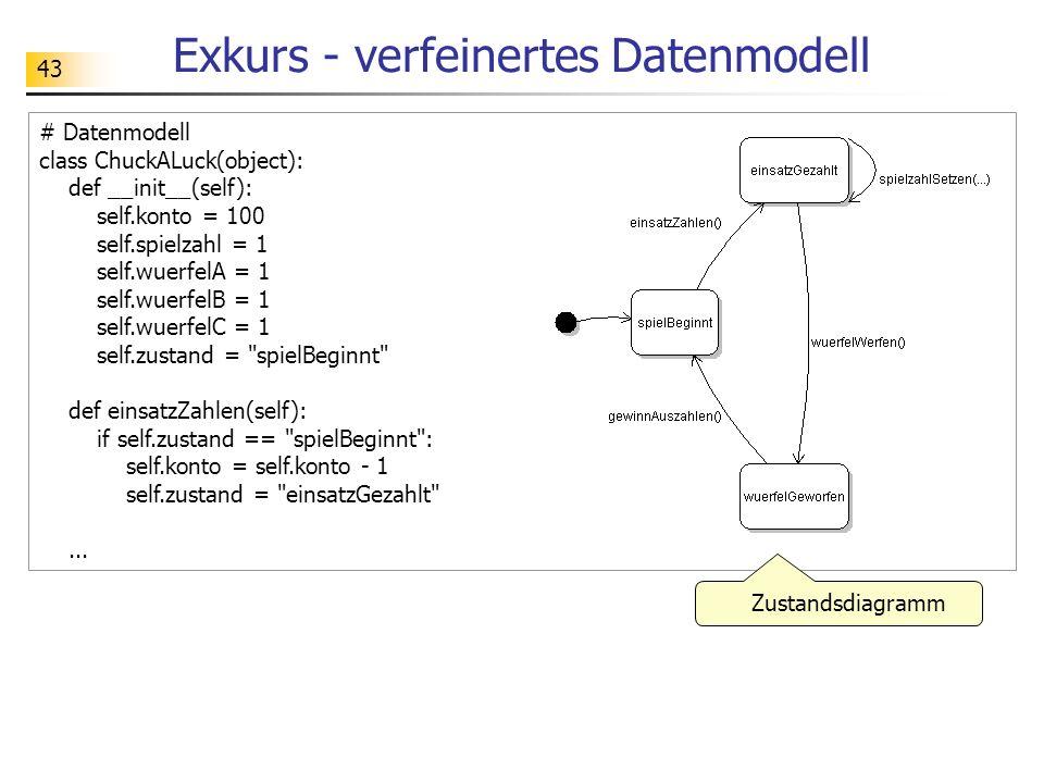 43 Exkurs - verfeinertes Datenmodell # Datenmodell class ChuckALuck(object): def __init__(self): self.konto = 100 self.spielzahl = 1 self.wuerfelA = 1