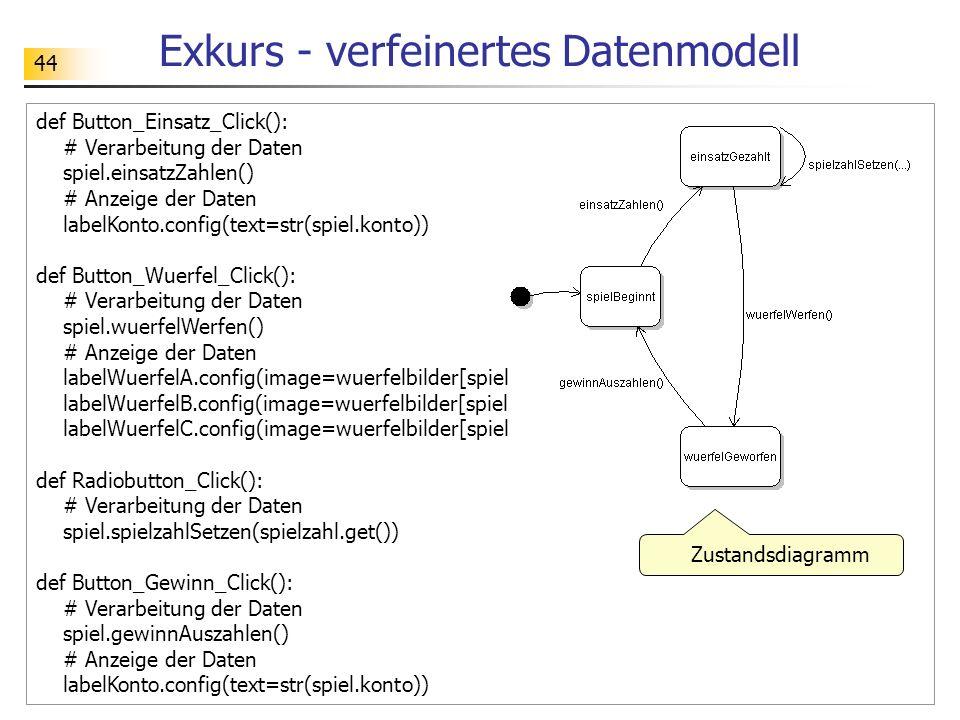 44 Exkurs - verfeinertes Datenmodell def Button_Einsatz_Click(): # Verarbeitung der Daten spiel.einsatzZahlen() # Anzeige der Daten labelKonto.config(