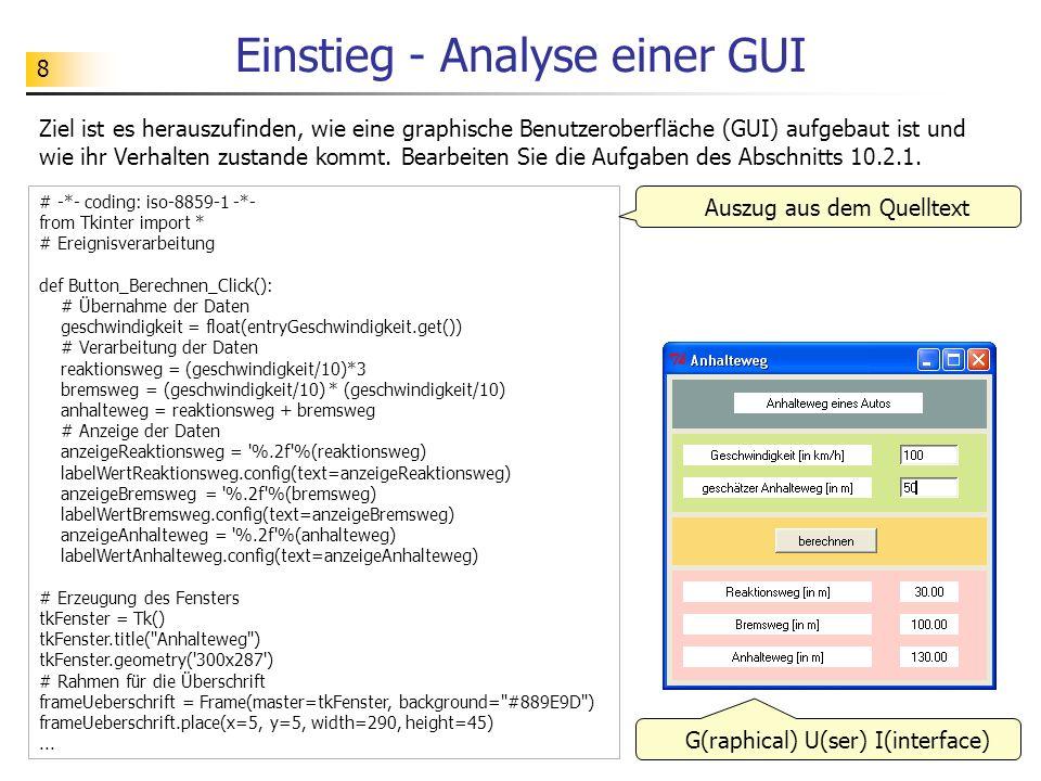8 Einstieg - Analyse einer GUI Ziel ist es herauszufinden, wie eine graphische Benutzeroberfläche (GUI) aufgebaut ist und wie ihr Verhalten zustande k