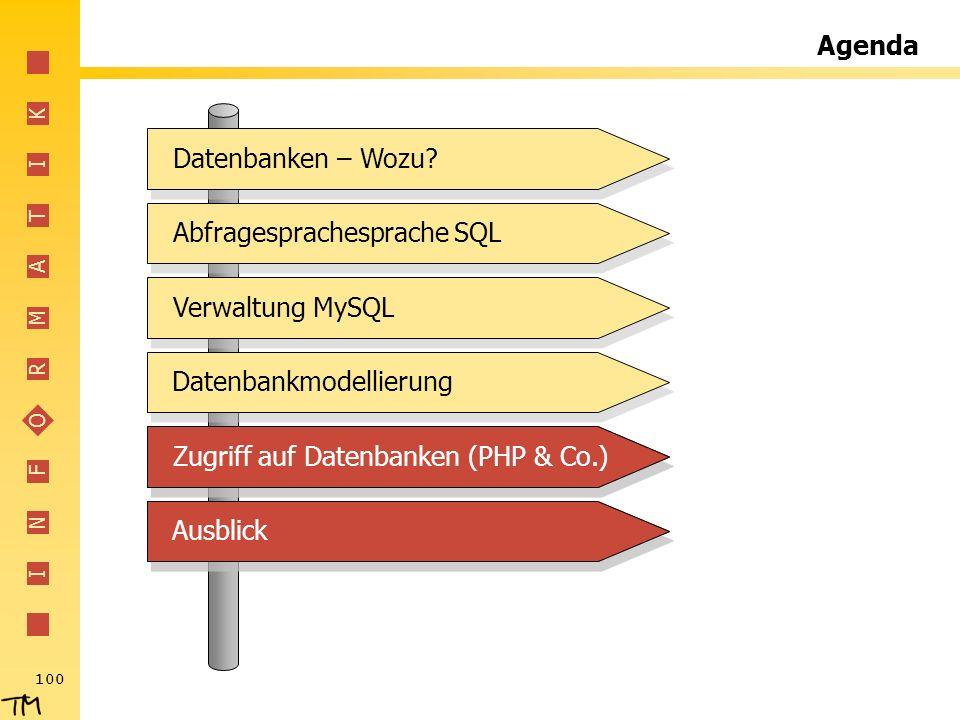 I N F O R M A T I K 100 Agenda Abfragesprachesprache SQL Verwaltung MySQL Datenbankmodellierung Zugriff auf Datenbanken (PHP & Co.) Ausblick Datenbank
