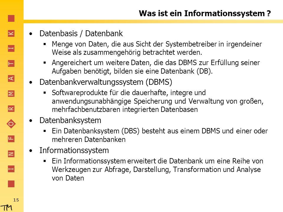 I N F O R M A T I K 15 Was ist ein Informationssystem ? Datenbasis / Datenbank Menge von Daten, die aus Sicht der Systembetreiber in irgendeiner Weise