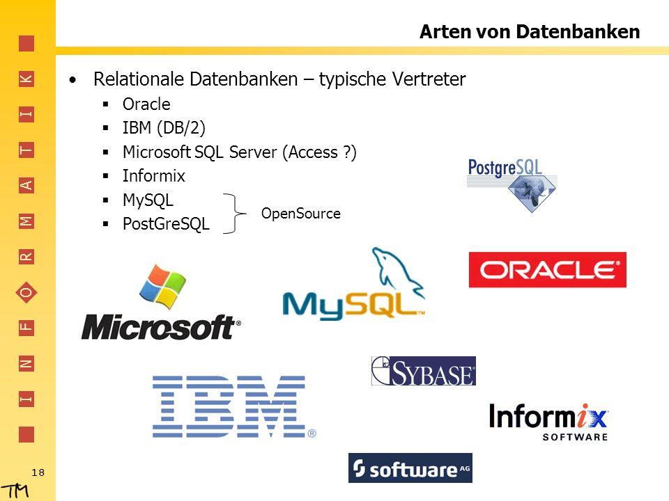 I N F O R M A T I K 18 Arten von Datenbanken Relationale Datenbanken – typische Vertreter Oracle IBM (DB/2) Microsoft SQL Server (Access ?) Informix M