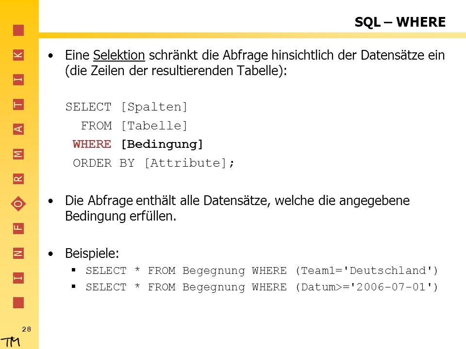 I N F O R M A T I K 28 SQL – WHERE Eine Selektion schränkt die Abfrage hinsichtlich der Datensätze ein (die Zeilen der resultierenden Tabelle): SELECT