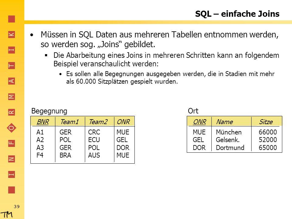 I N F O R M A T I K 39 SQL – einfache Joins Müssen in SQL Daten aus mehreren Tabellen entnommen werden, so werden sog. Joins gebildet. Die Abarbeitung