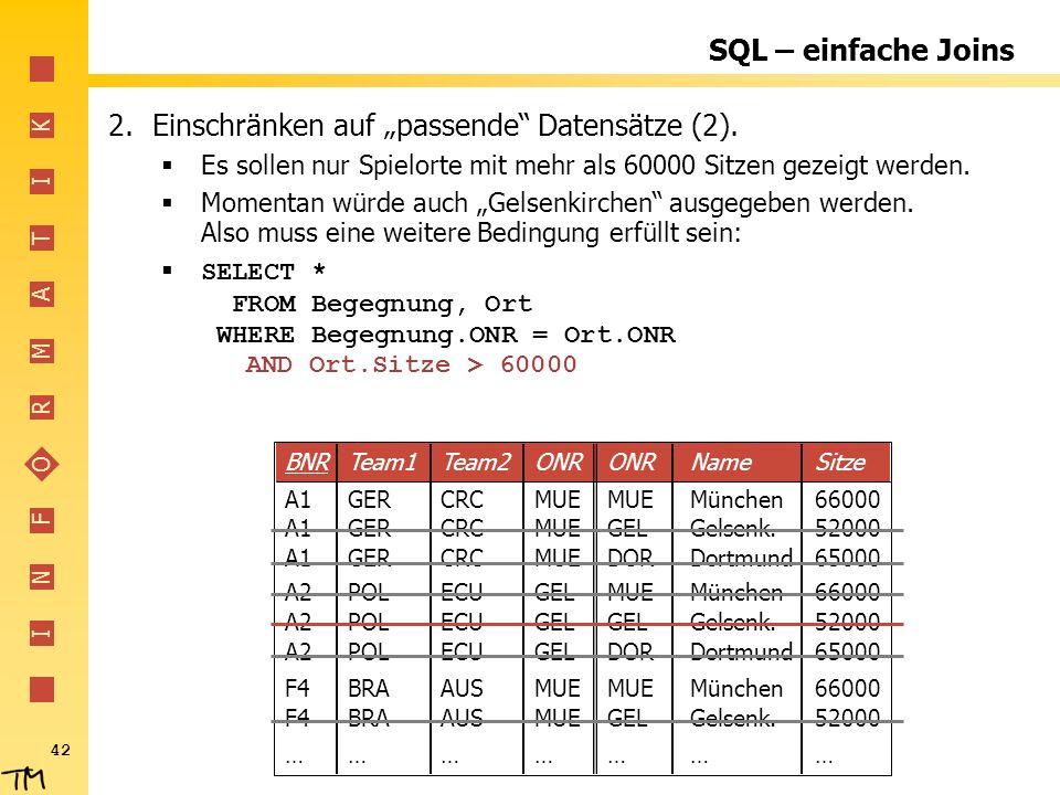I N F O R M A T I K 42 SQL – einfache Joins 2.Einschränken auf passende Datensätze (2). Es sollen nur Spielorte mit mehr als 60000 Sitzen gezeigt werd