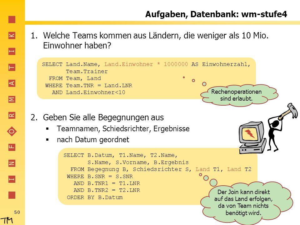 I N F O R M A T I K 50 Aufgaben, Datenbank: wm-stufe4 1.Welche Teams kommen aus Ländern, die weniger als 10 Mio. Einwohner haben? 2.Geben Sie alle Beg