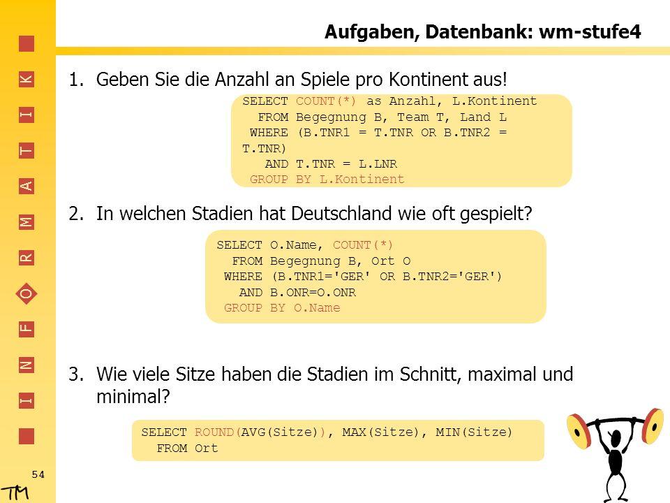 I N F O R M A T I K 54 Aufgaben, Datenbank: wm-stufe4 1.Geben Sie die Anzahl an Spiele pro Kontinent aus! 2.In welchen Stadien hat Deutschland wie oft