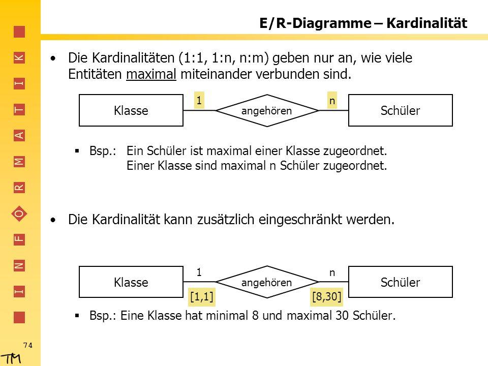 I N F O R M A T I K 74 E/R-Diagramme – Kardinalität Die Kardinalitäten (1:1, 1:n, n:m) geben nur an, wie viele Entitäten maximal miteinander verbunden