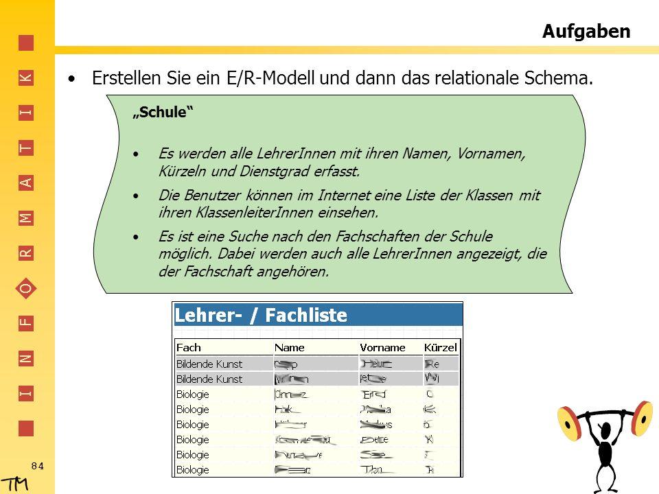 I N F O R M A T I K 84 Aufgaben Erstellen Sie ein E/R-Modell und dann das relationale Schema. Schule Es werden alle LehrerInnen mit ihren Namen, Vorna