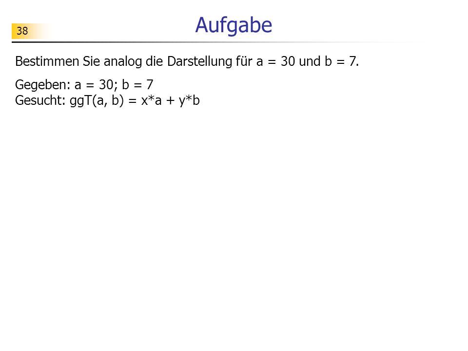 38 Aufgabe Bestimmen Sie analog die Darstellung für a = 30 und b = 7. Gegeben: a = 30; b = 7 Gesucht: ggT(a, b) = x*a + y*b
