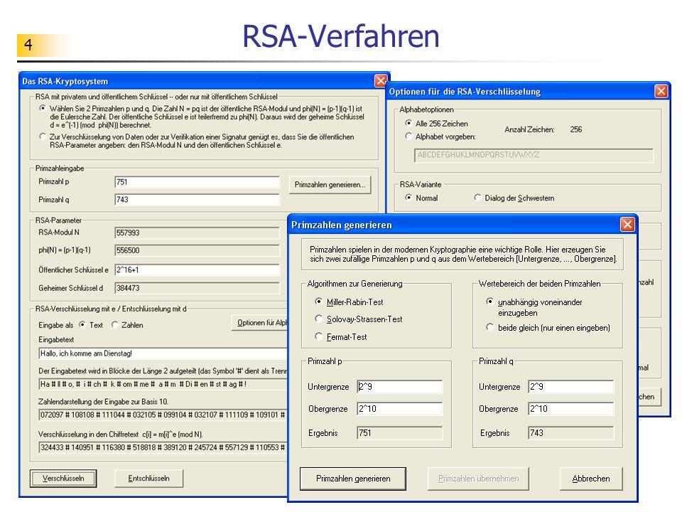 55 Korrektheit des RSA-Verfahrens Behauptung: Seien (e, m) und (d, m) ein öffentlicher und privater Schlüssel zum RSA- Verfahren.
