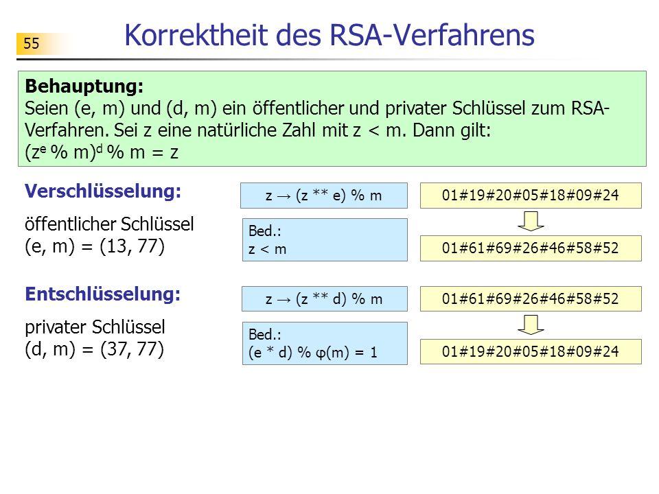 55 Korrektheit des RSA-Verfahrens Behauptung: Seien (e, m) und (d, m) ein öffentlicher und privater Schlüssel zum RSA- Verfahren. Sei z eine natürlich