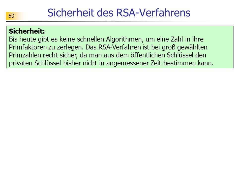 60 Sicherheit des RSA-Verfahrens Sicherheit: Bis heute gibt es keine schnellen Algorithmen, um eine Zahl in ihre Primfaktoren zu zerlegen. Das RSA-Ver