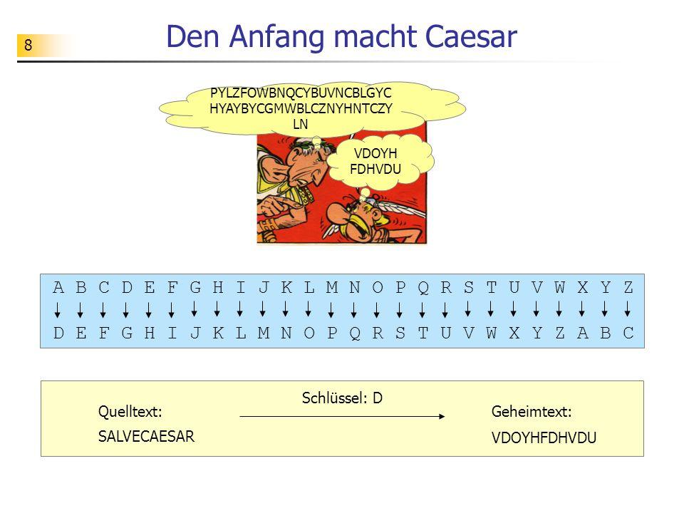 8 Den Anfang macht Caesar A B C D E F G H I J K L M N O P Q R S T U V W X Y Z D E F G H I J K L M N O P Q R S T U V W X Y Z A B C Schlüssel: D Quellte
