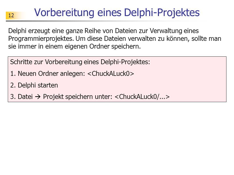 12 Vorbereitung eines Delphi-Projektes Delphi erzeugt eine ganze Reihe von Dateien zur Verwaltung eines Programmierprojektes. Um diese Dateien verwalt