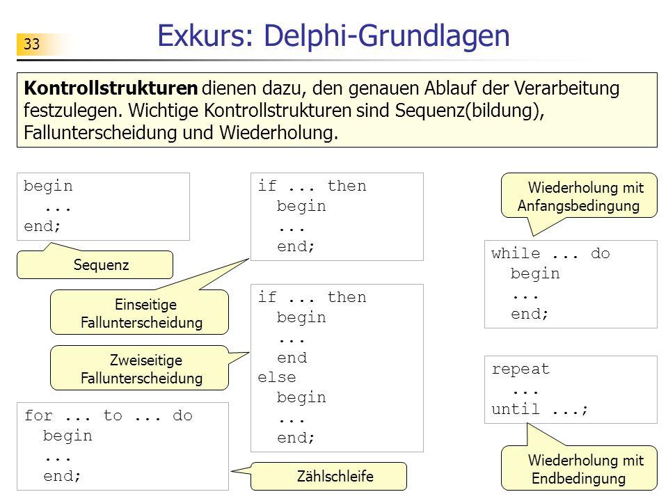 33 for... to... do begin... end; Exkurs: Delphi-Grundlagen Kontrollstrukturen dienen dazu, den genauen Ablauf der Verarbeitung festzulegen. Wichtige K