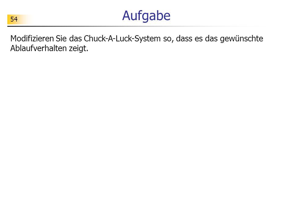 54 Aufgabe Modifizieren Sie das Chuck-A-Luck-System so, dass es das gewünschte Ablaufverhalten zeigt.