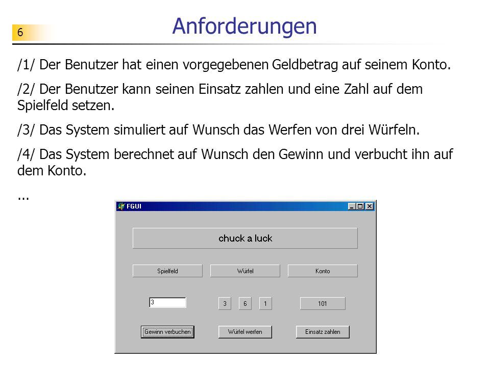 7 Eine grafische Benutzungsoberfläche (GUI: Graphical User Interface) legt das äußere Erscheinungsbild eines Programms und die Interaktionsmöglichkeiten des Benutzers mit dem Programm fest.