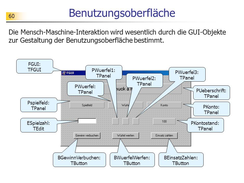 60 Benutzungsoberfläche Die Mensch-Maschine-Interaktion wird wesentlich durch die GUI-Objekte zur Gestaltung der Benutzungsoberfläche bestimmt. PUeber