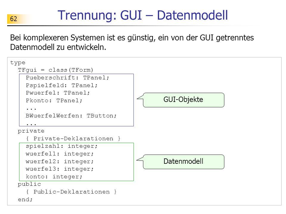 62 Trennung: GUI – Datenmodell Bei komplexeren Systemen ist es günstig, ein von der GUI getrenntes Datenmodell zu entwickeln. type TFgui = class(TForm