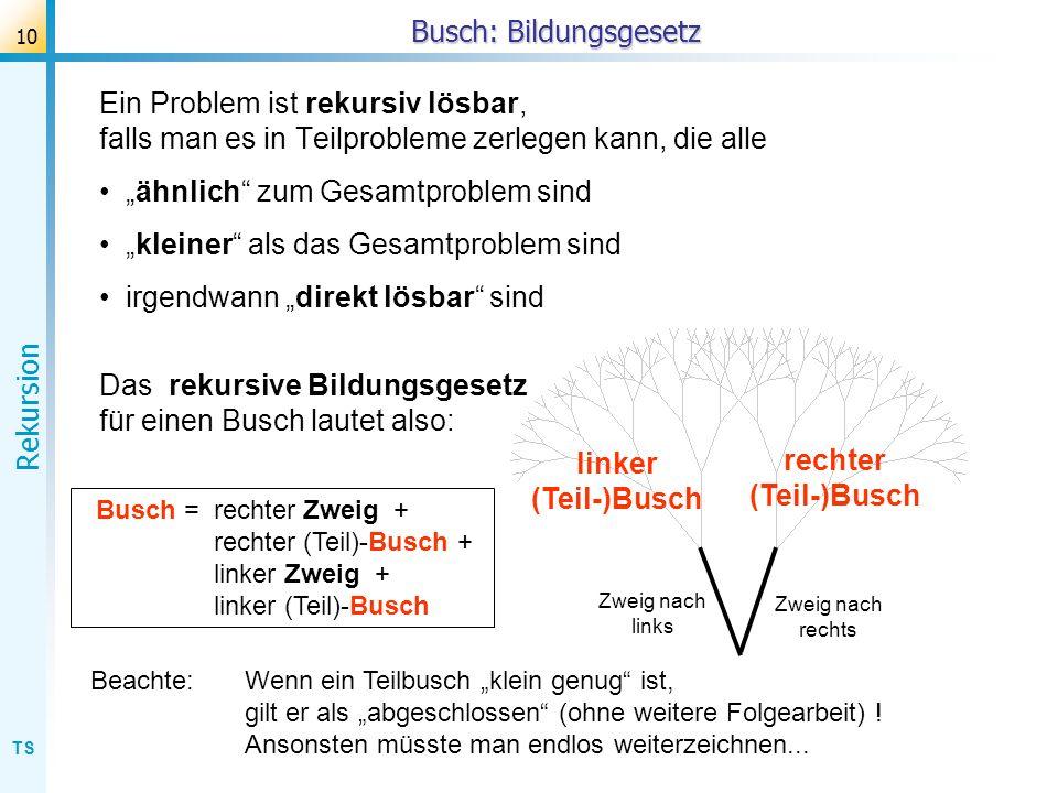 TS Rekursion 10 Busch: Bildungsgesetz Ein Problem ist rekursiv lösbar, falls man es in Teilprobleme zerlegen kann, die alle ähnlich zum Gesamtproblem