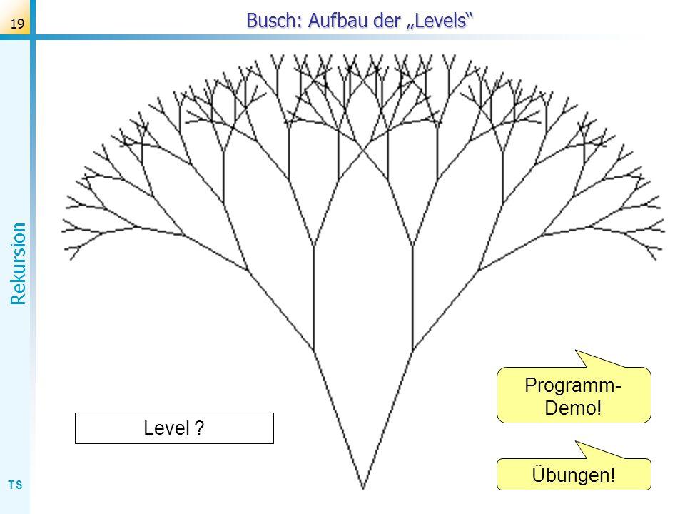 TS Rekursion 19 Busch: Aufbau der Levels Level ? Programm- Demo! Übungen!