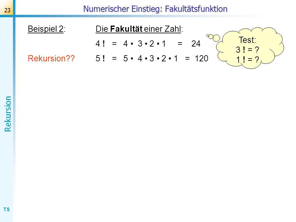 TS Rekursion 23 Beispiel 2:Die Fakultät einer Zahl: 4 ! = 4 3 2 1 = 24 Rekursion??5 ! = 5 4 3 2 1 = 120 Numerischer Einstieg: Fakultätsfunktion Test: