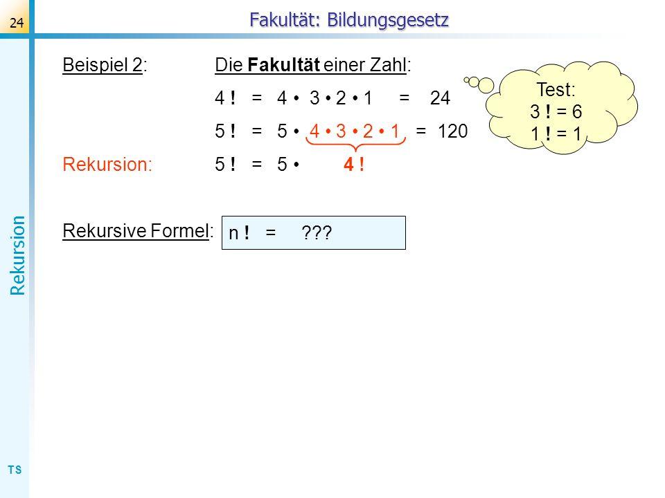 TS Rekursion 24 Beispiel 2:Die Fakultät einer Zahl: 4 ! = 4 3 2 1 = 24 5 ! = 5 4 3 2 1 = 120 Rekursion:5 ! = 5 4 ! Rekursive Formel: Test: 3 ! = 6 1 !