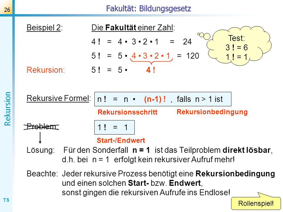 TS Rekursion 26 Beispiel 2:Die Fakultät einer Zahl: 4 ! = 4 3 2 1 = 24 5 ! = 5 4 3 2 1 = 120 Rekursion: 5 ! = 5 4 ! Rekursive Formel: Problem: Lösung: