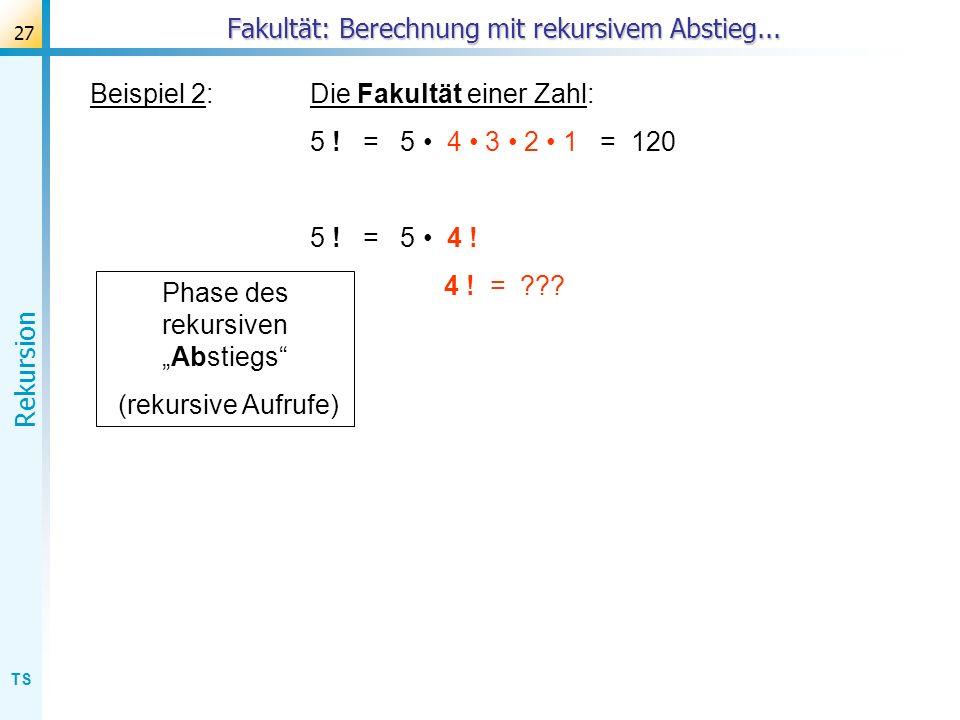 TS Rekursion 27 Beispiel 2:Die Fakultät einer Zahl: 5 ! = 5 4 3 2 1 = 120 5 ! = 5 4 ! 4 ! = ??? Fakultät: Berechnung mit rekursivem Abstieg... Phase d