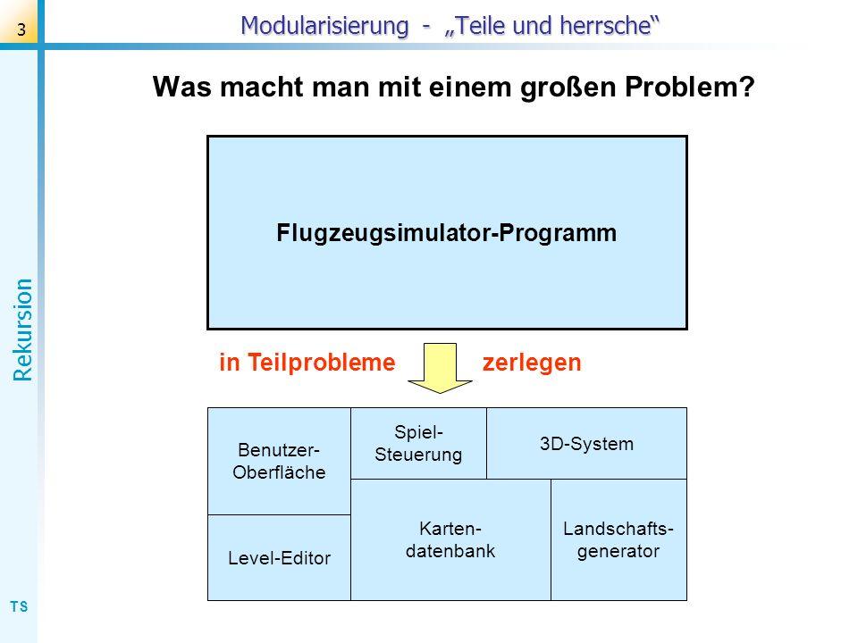 TS Rekursion 14 Busch: Programmierung procedure busch(laenge: real); begin if laenge > 10 then with Form1.Turtle1 do begin turnright(20); forwd(laenge); busch(...................); back(laenge); turnleft(40); forwd(laenge); busch(...................); back(laenge); turnright(20); end; end; rechten Zweig zeichnen rechten Teilbusch zeichnen zurück und linken Zweig zeichnen linken Teilbusch zeichnen zurück und geradeaus drehen rechter (Teil-)Busch linker (Teil-)Busch Zweig nach rechts Zweig nach links Ergänzung der rekursiven Aufrufe: Programmierung der Grundstruktur: