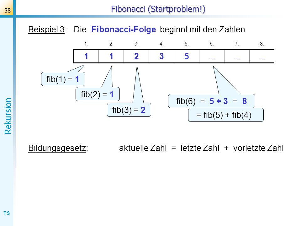 TS Rekursion 38 Fibonacci (Startproblem!) Beispiel 3: Die Fibonacci-Folge beginnt mit den Zahlen 1.2.3.4.5.6.7.8. 11235... fib(1) = 1 fib(2) = 1 fib(3
