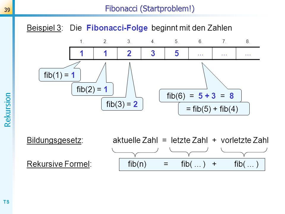 TS Rekursion 39 Fibonacci (Startproblem!) Beispiel 3: Die Fibonacci-Folge beginnt mit den Zahlen 1.2.3.4.5.6.7.8. 11235... fib(1) = 1 fib(2) = 1 fib(3