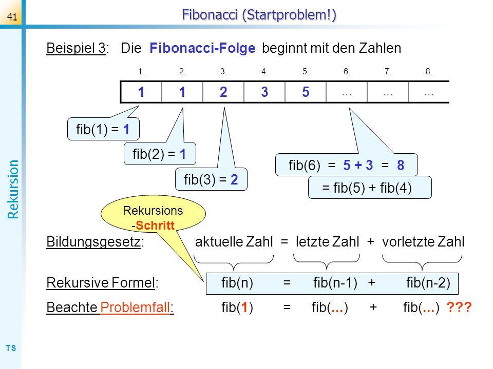 TS Rekursion 41 Fibonacci (Startproblem!) Beispiel 3: Die Fibonacci-Folge beginnt mit den Zahlen 1.2.3.4.5.6.7.8. 11235... fib(1) = 1 fib(2) = 1 fib(3