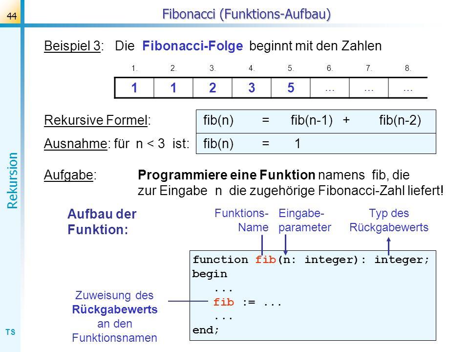 TS Rekursion 44 Fibonacci (Funktions-Aufbau) Beispiel 3: Die Fibonacci-Folge beginnt mit den Zahlen 1.2.3.4.5.6.7.8. 11235... Rekursive Formel: fib(n)