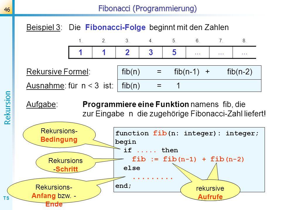 TS Rekursion 46 Fibonacci (Programmierung) Beispiel 3: Die Fibonacci-Folge beginnt mit den Zahlen 1.2.3.4.5.6.7.8. 11235... Rekursive Formel: fib(n) =