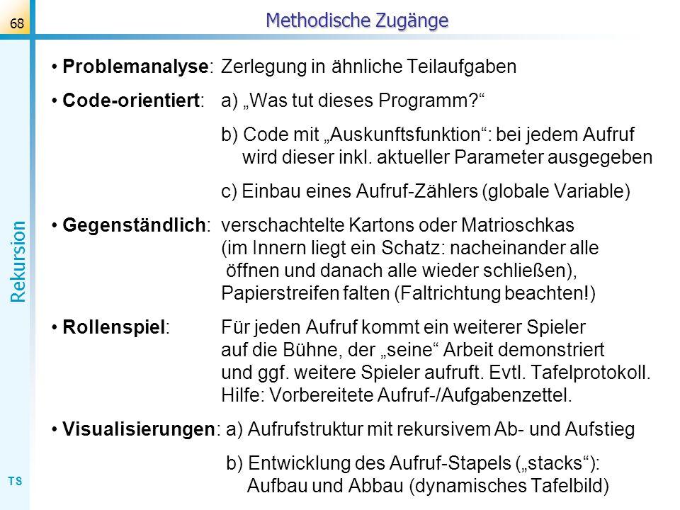 TS Rekursion 68 Methodische Zugänge Problemanalyse:Zerlegung in ähnliche Teilaufgaben Code-orientiert: a) Was tut dieses Programm? b) Code mit Auskunf